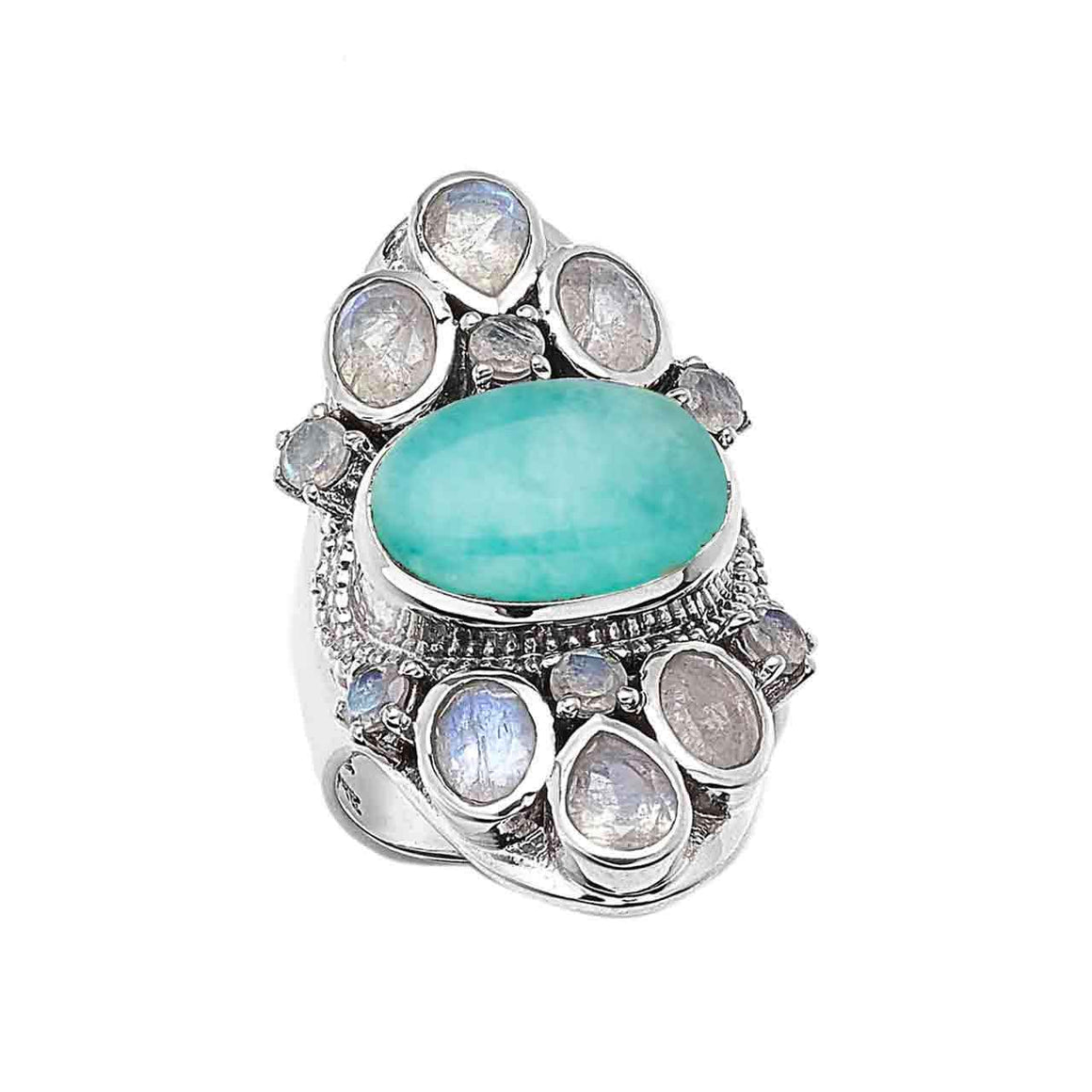 Amazonite and Faceted Rainbow Moonstone Gemstone Ring