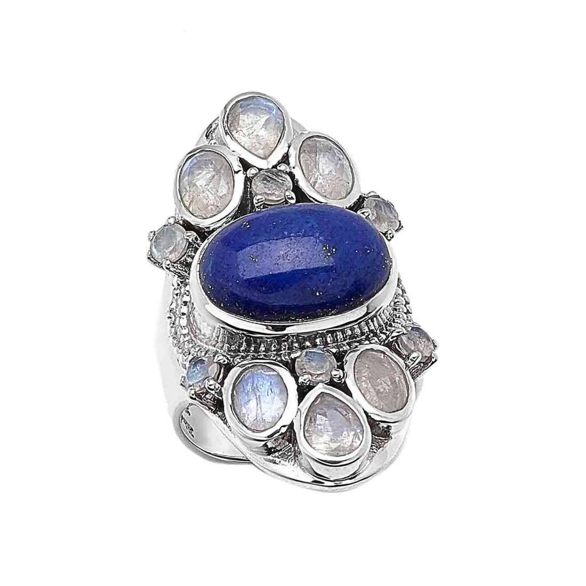 Lapis and Rainbow Moonstone Gemstone Ring