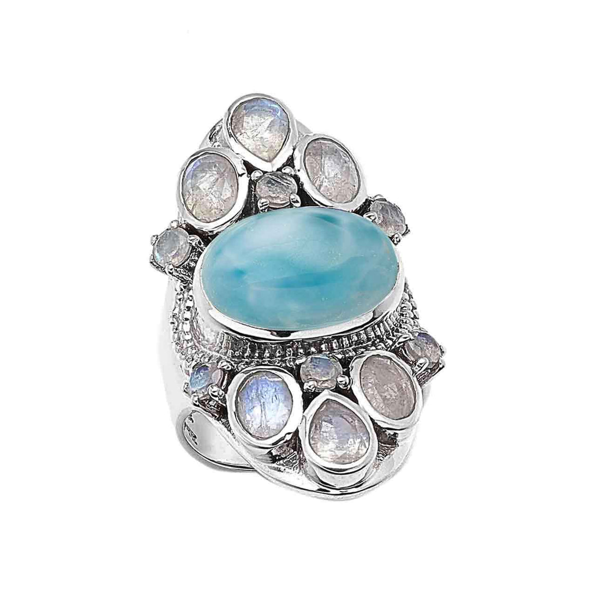 Larimar and Faceted Rainbow Moonstone Gemstone Ring