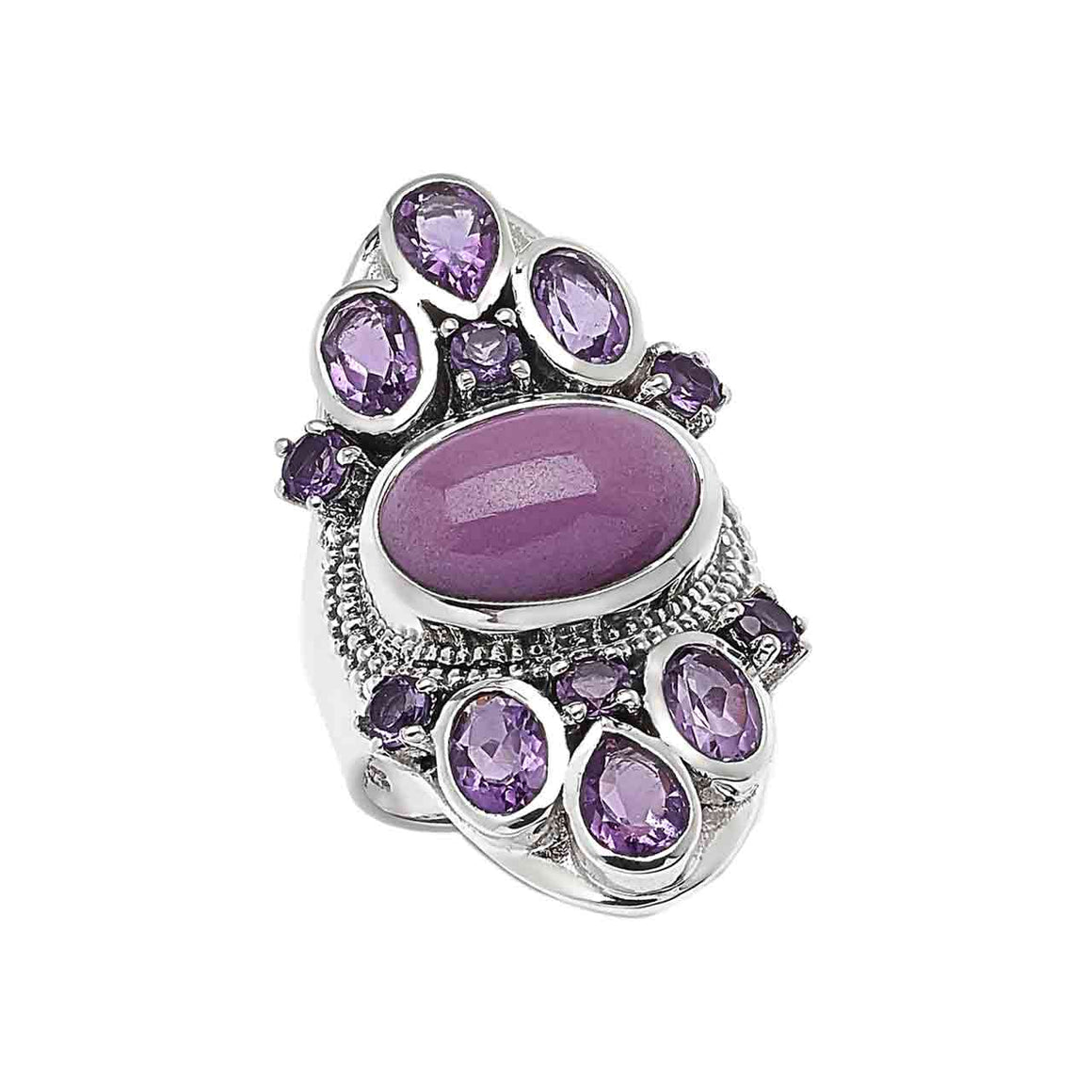 Phosphosiderite and Amethyst Gemstone Ring
