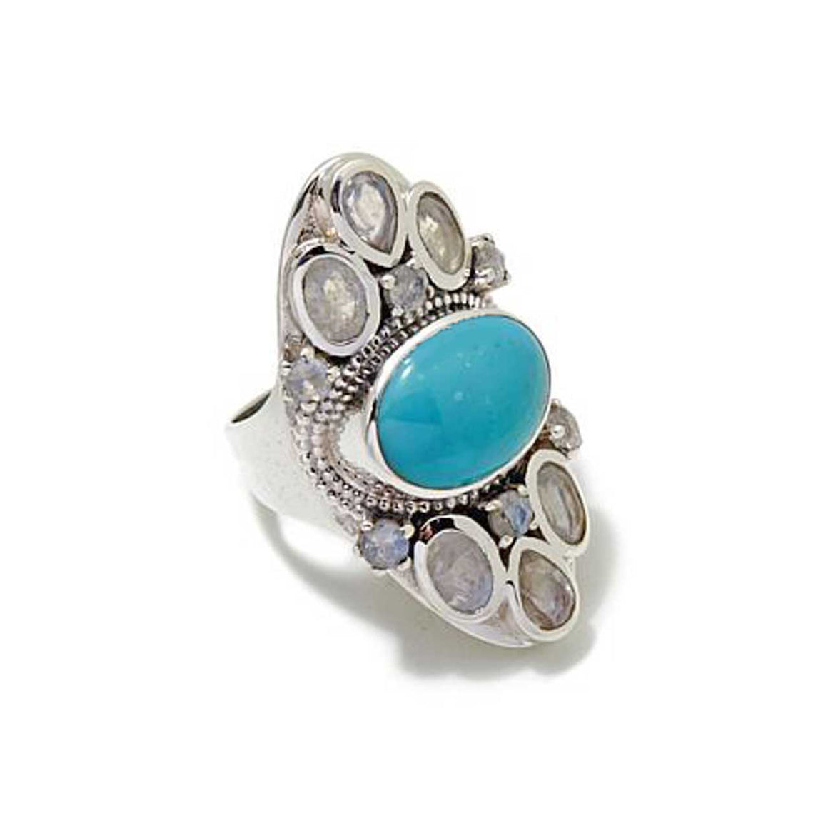Turquoise & Rainbow Moonstone Gemstone Ring