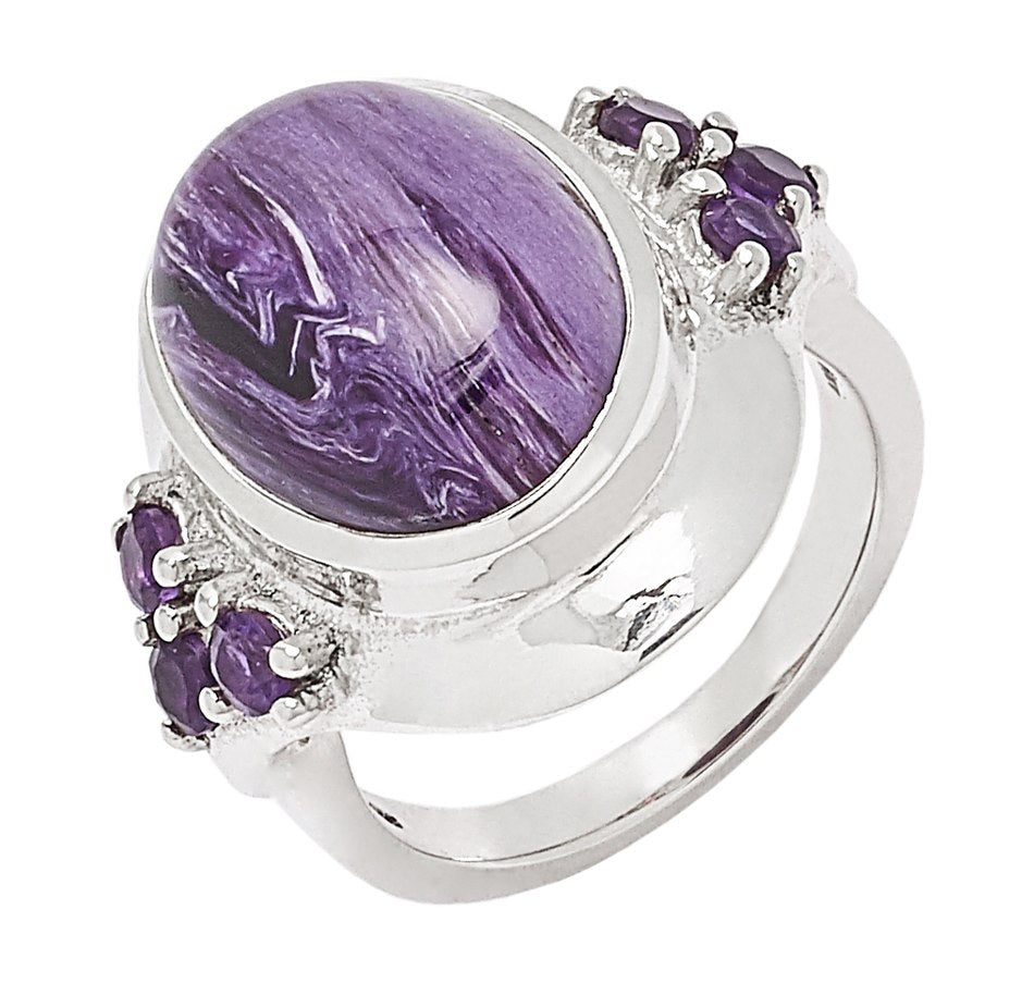 Sterling Silver Charoite and Amethyst Ring