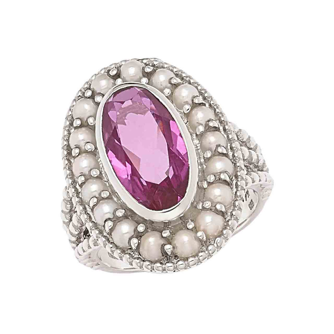 Kunzite Quartz and Feshwater Pearl Ring