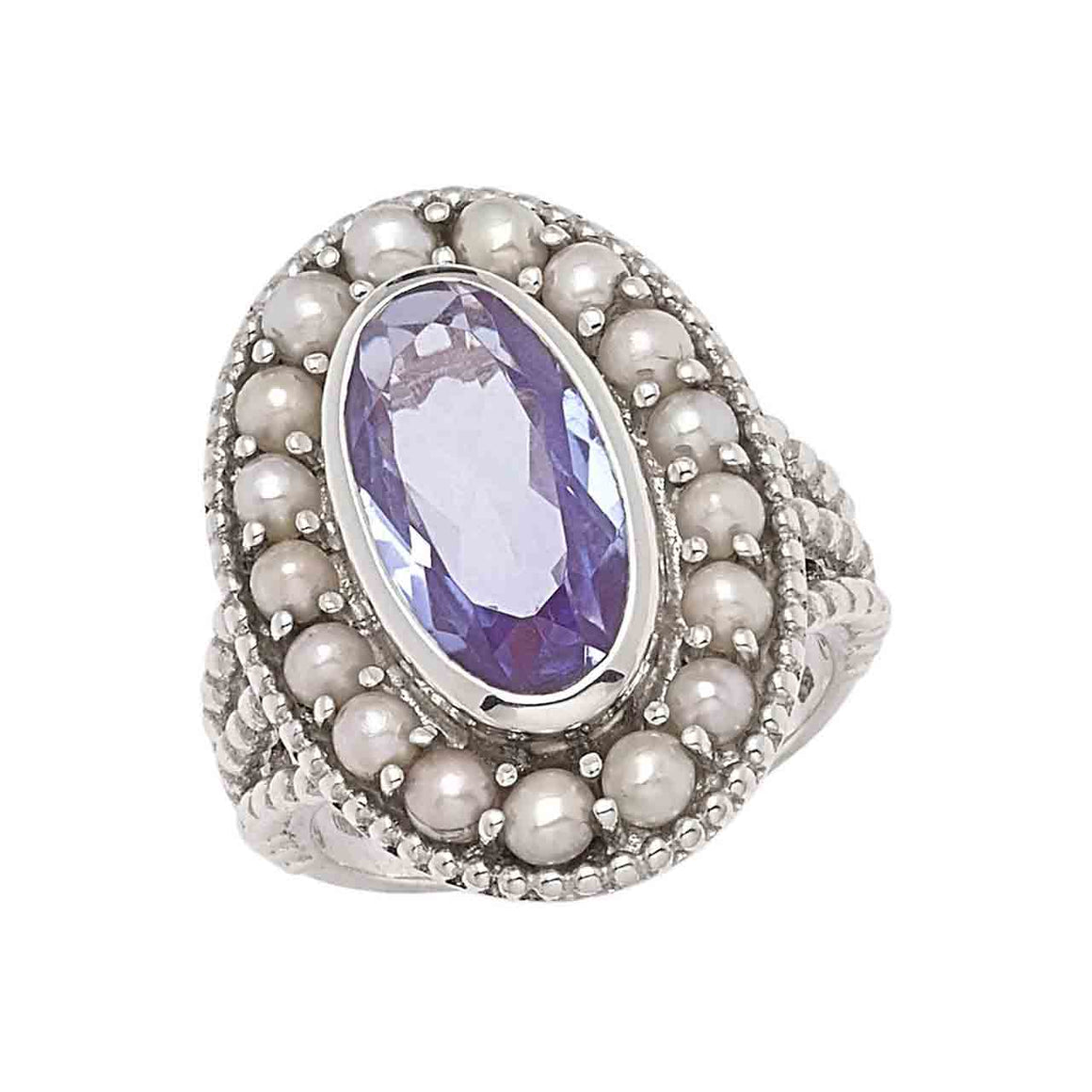 Lavender Quartz and Feshwater Pearl Ring