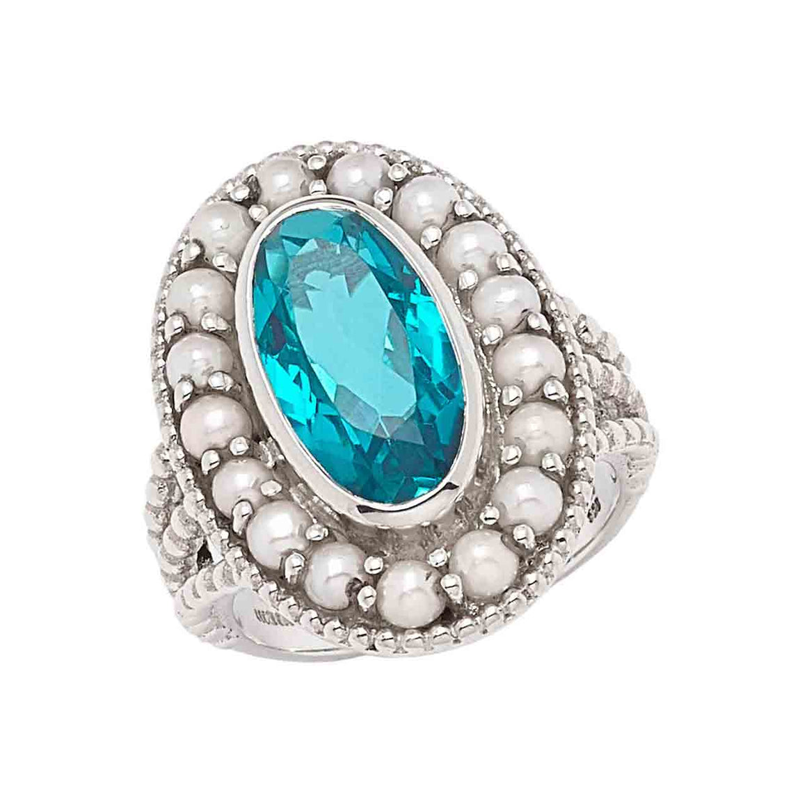 Paraiba Blue Quartz and Feshwater Pearl Ring