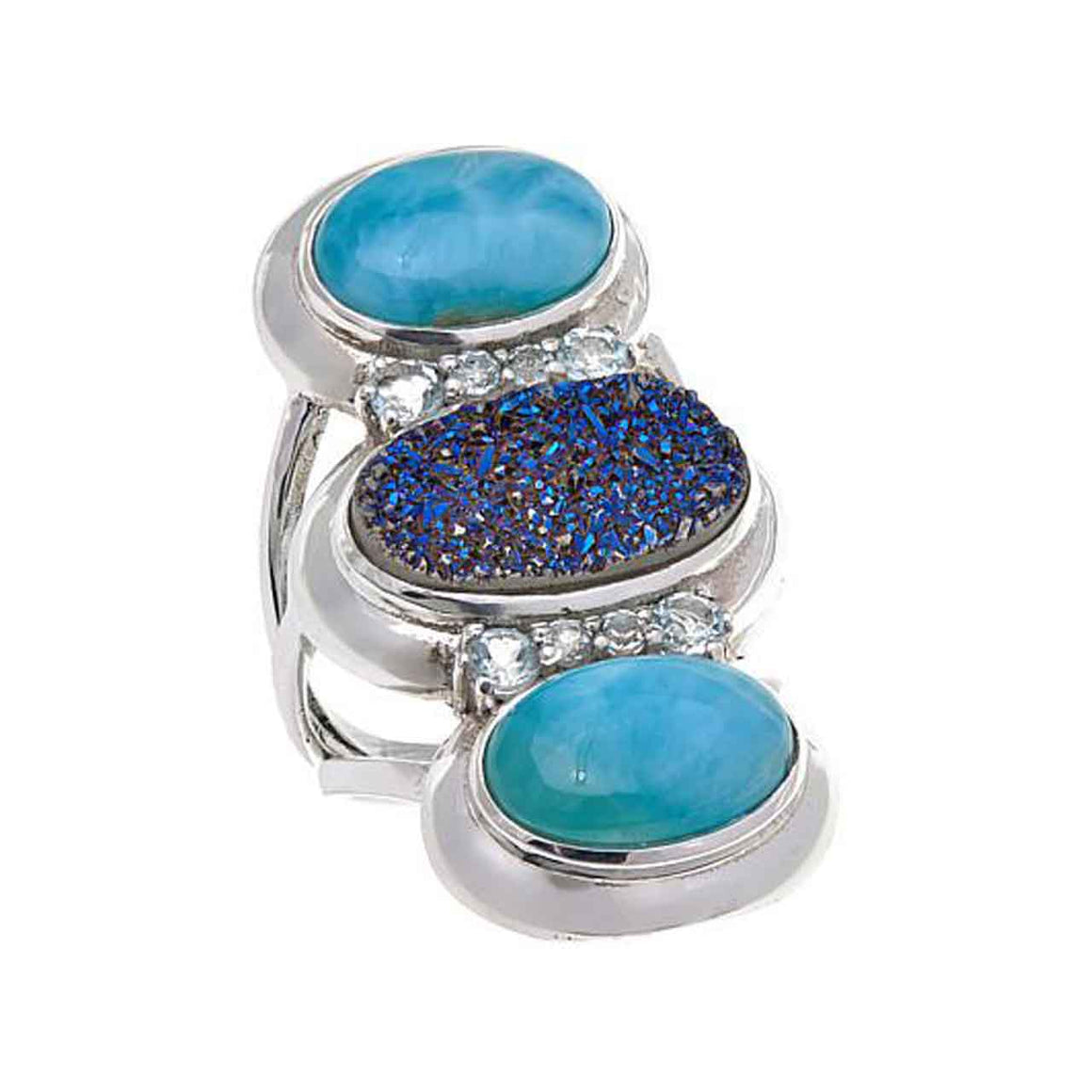 Blue Drusy, Larimar & Blue Topaz Ring