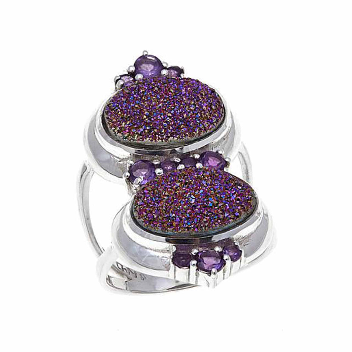 Purple Drusy and Ameythst Ring