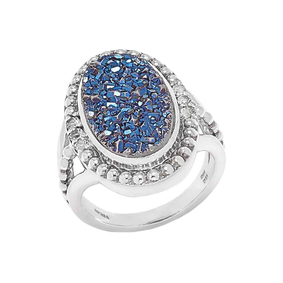Blue Drusy and Blue Topaz 7 Stone Ring