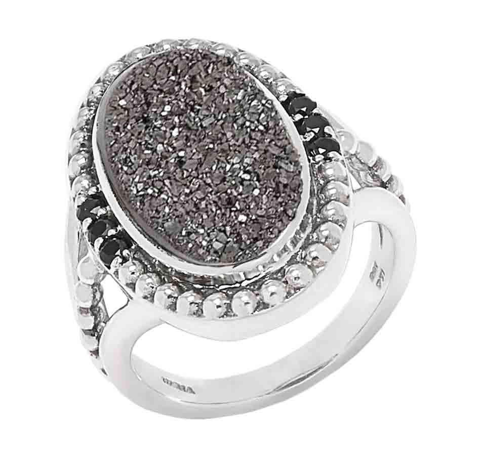 Platinum Drusy and Black Spinel 7 Stone Ring