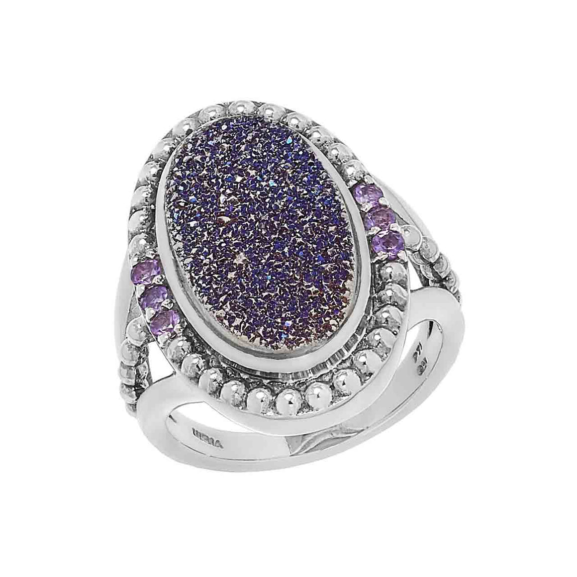 Purple Drusy and Amethyst 7 Stone Ring