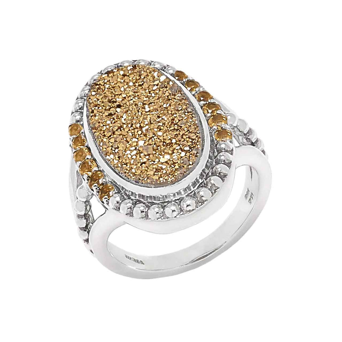Gold Drusy and Citrine 13 Stone Ring