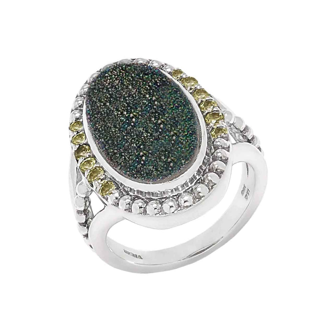 Green Drusy and Peridot 13 Stone Ring
