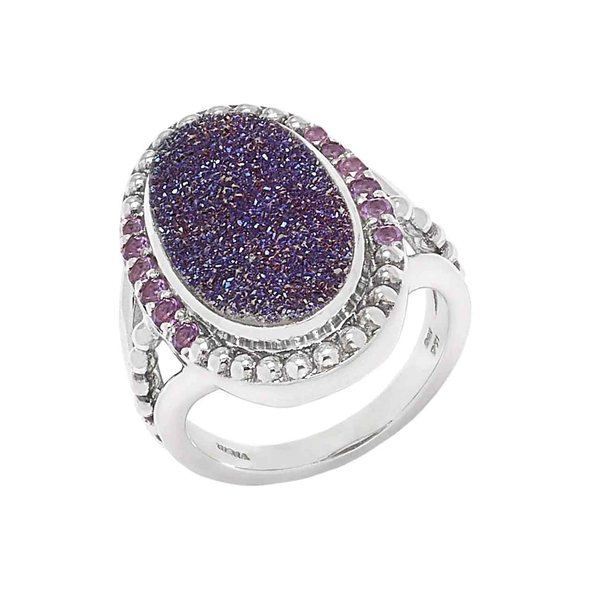Purple Drusy and Amethyst 13 Stone Ring