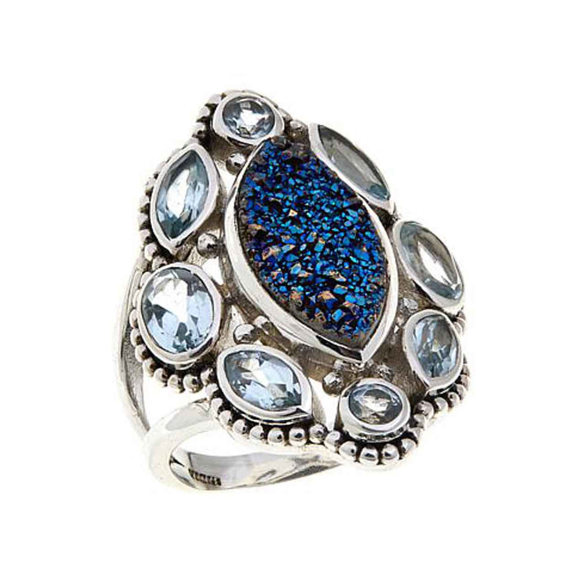 Blue Drusy and Blue Topaz Ring