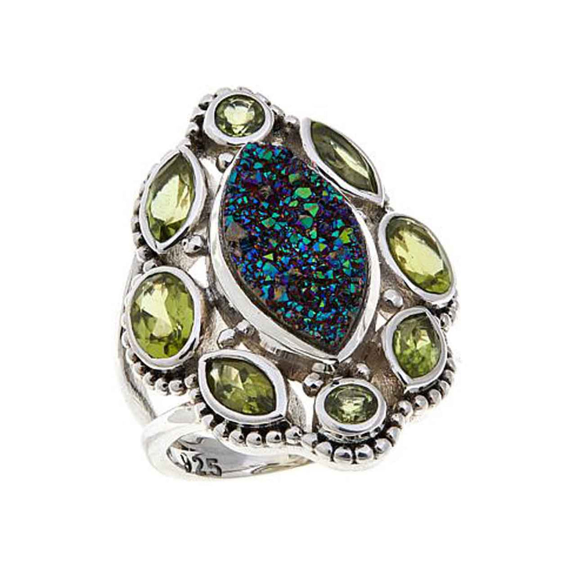 Green Drusy and Peridot Ring