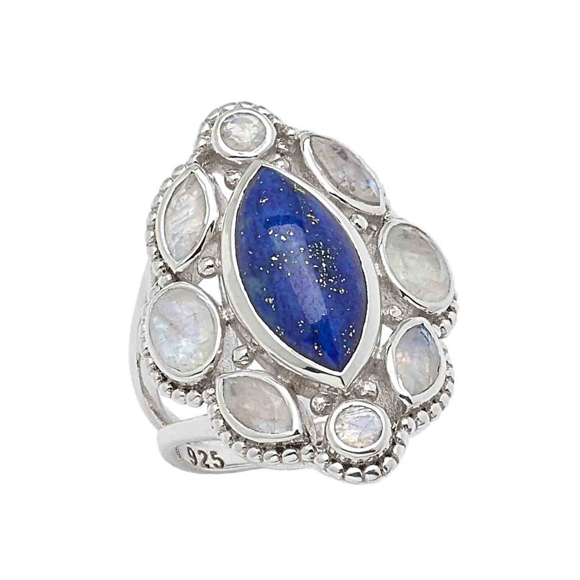 Lapis and Rainbow Moonstone Marquise Ring