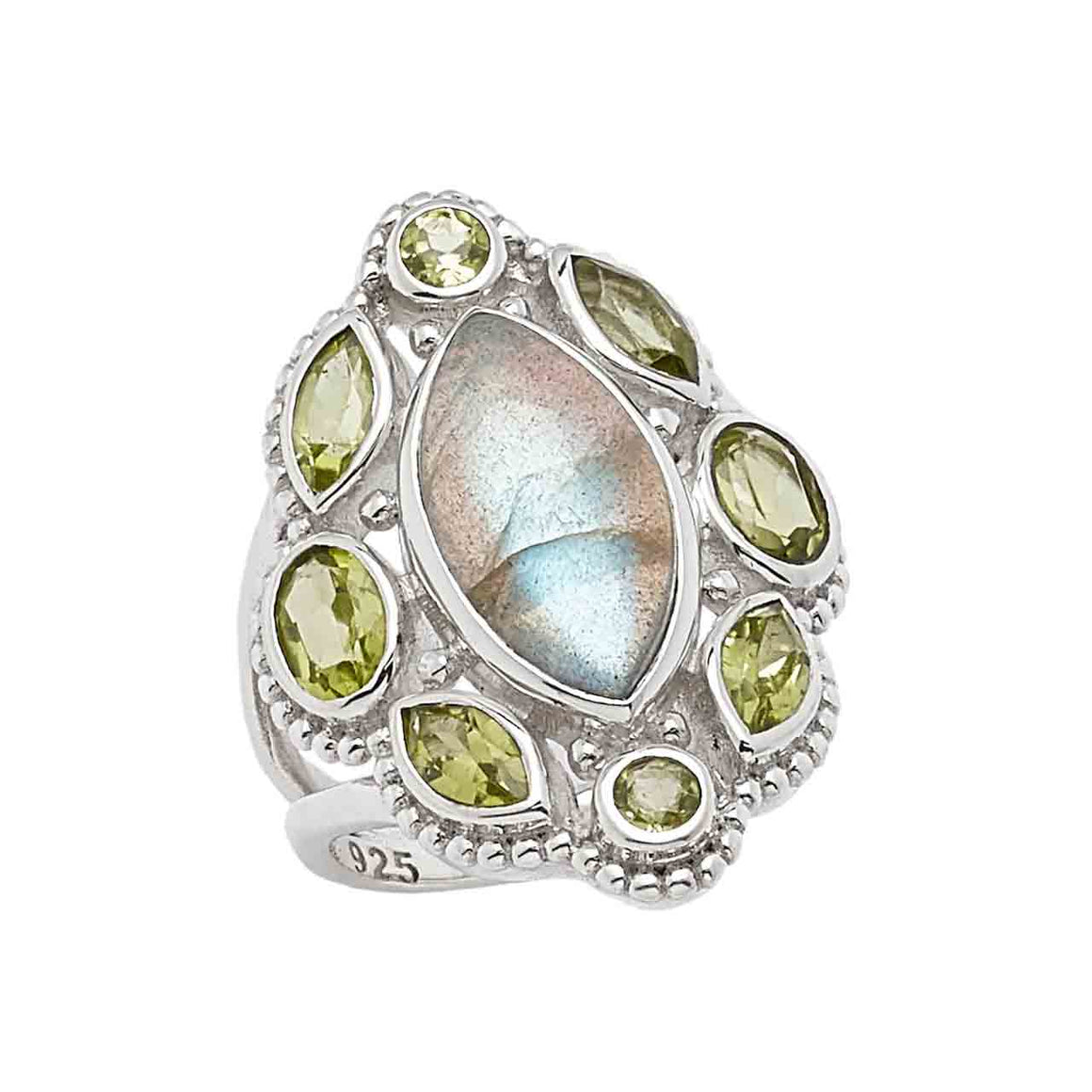 Labradorite and Peridot Marquise Ring
