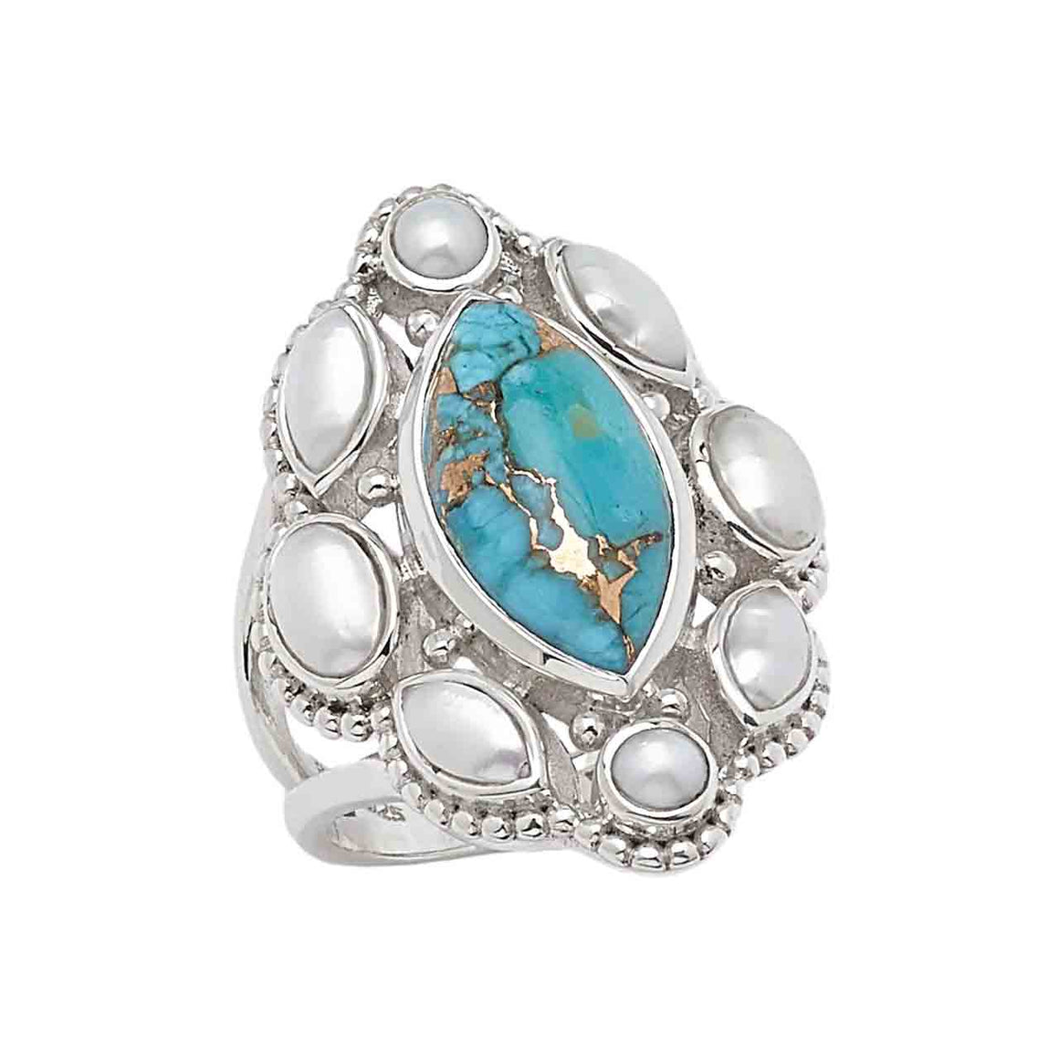 Mohave Turquoise and Freshwater Pearl Marquise Ring