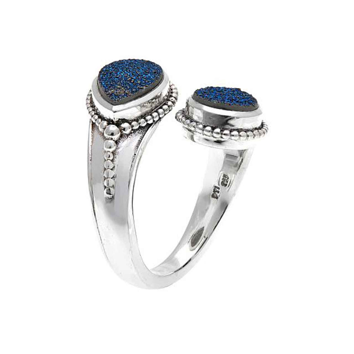 Blue Drusy Bi Pass Ring