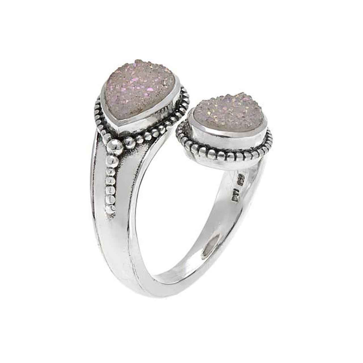 White Drusy Bi Pass Ring
