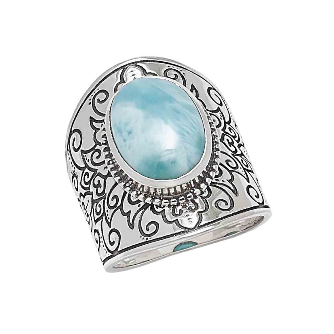 Larimar Ring with Oxidized Design