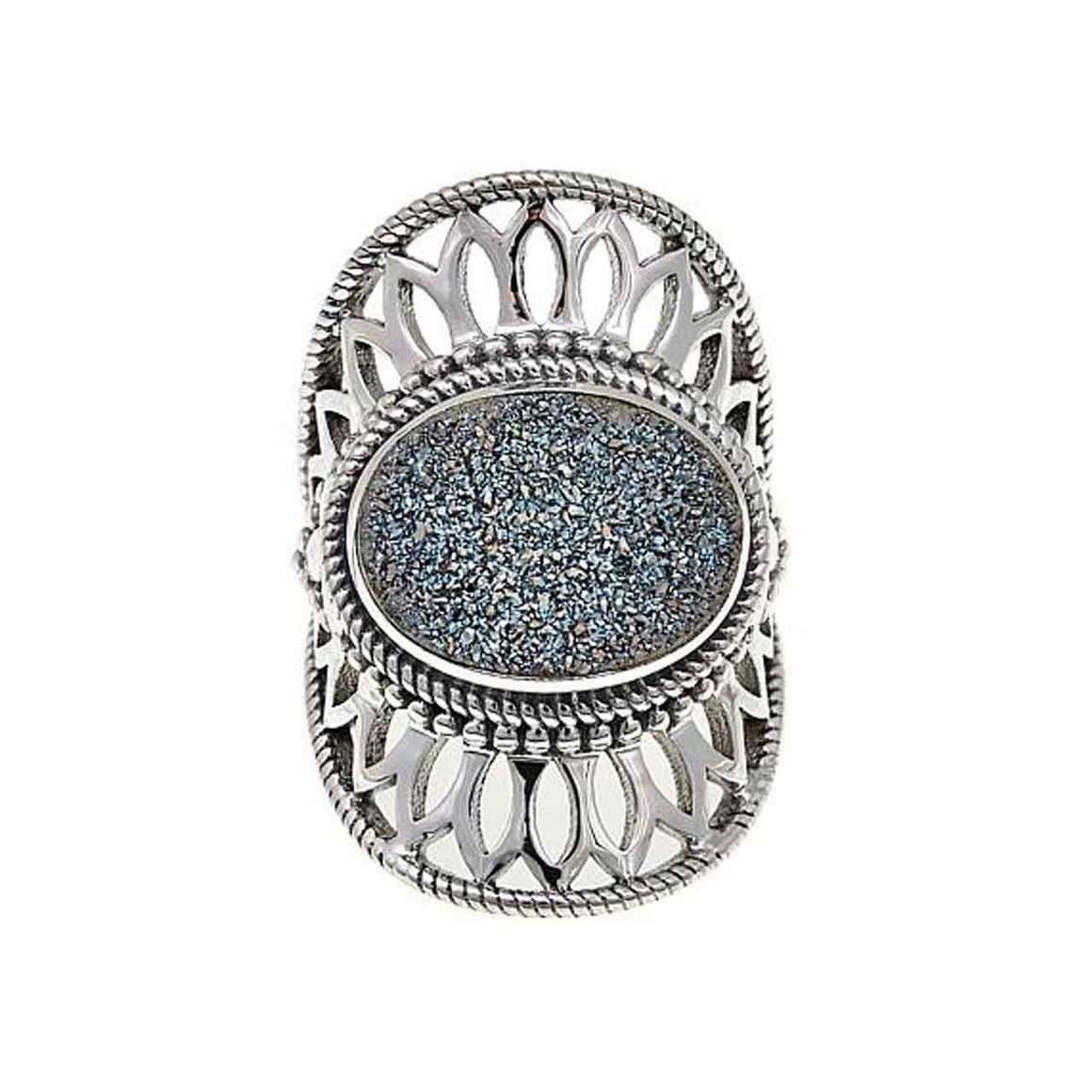 Carribbean Blue Drusy Ring