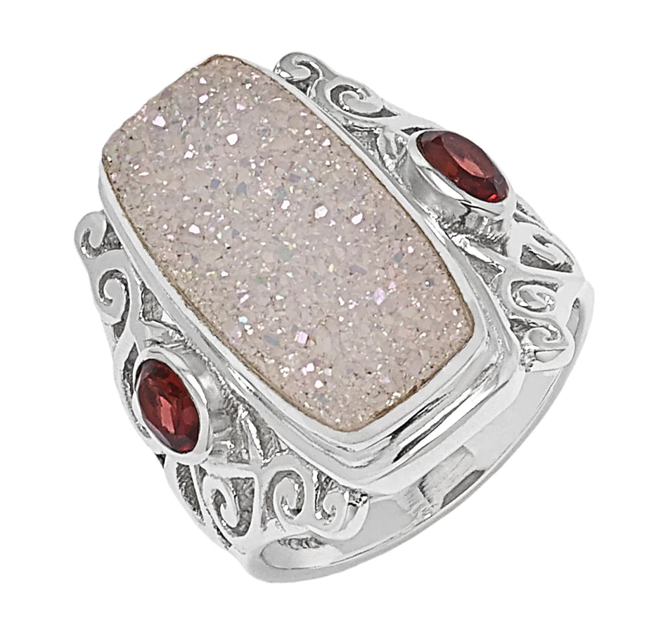 Pearl White Drusy and Garnet Ring