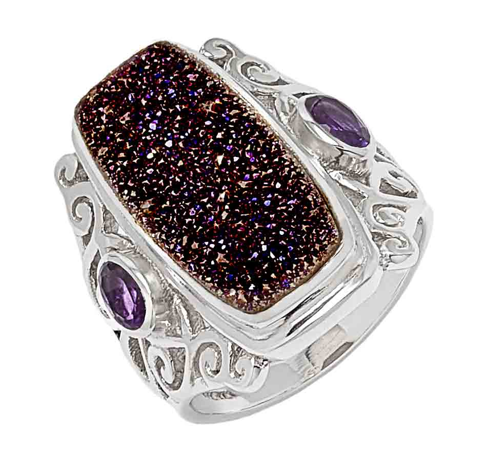 Purple Drusy and Amethyst Ring