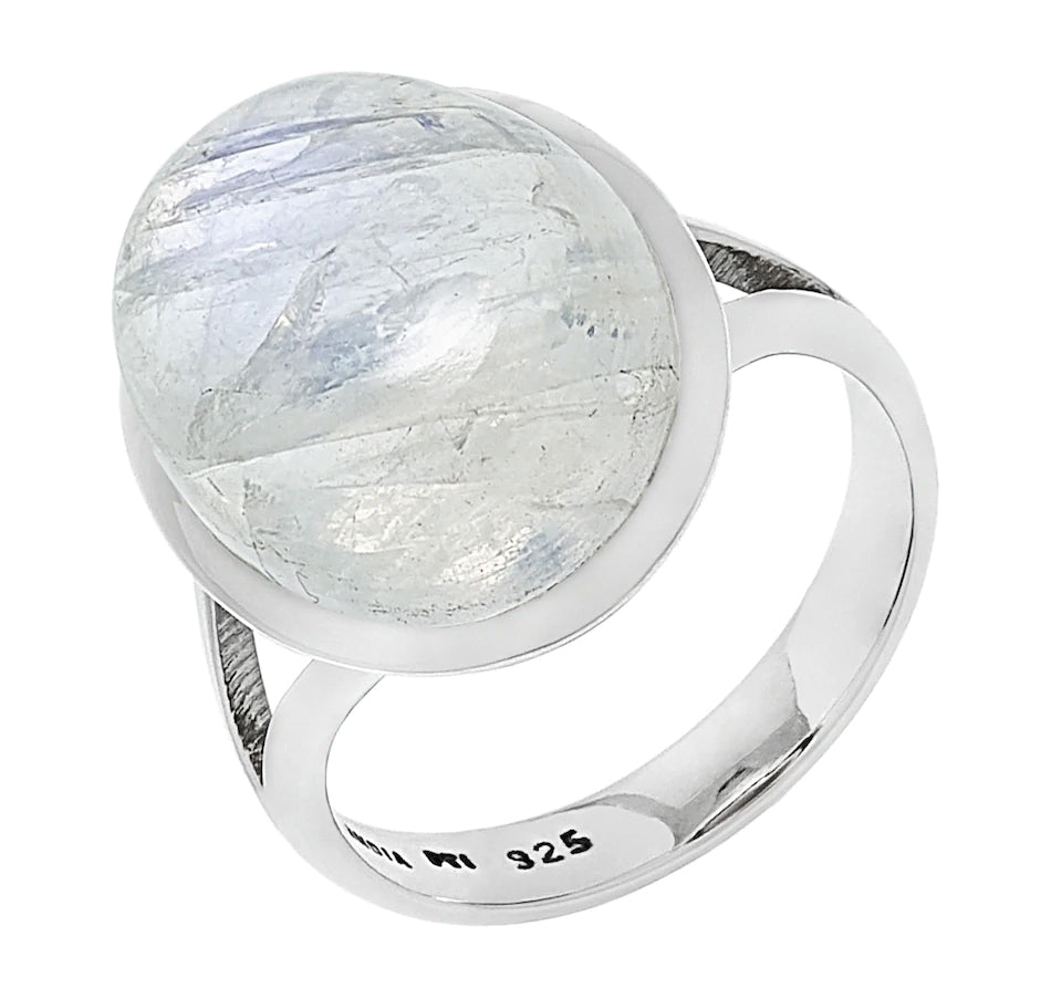 Rainbow Moonstone Cabochon Ring