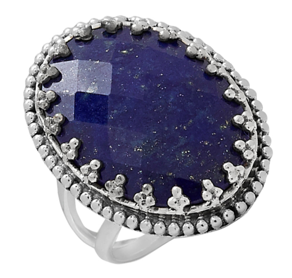 Faceted Checkerboard Lapis Oval Ring