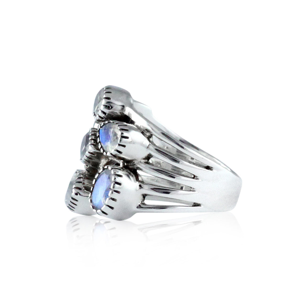 Rainbow Moonstone Multi Stone Ring