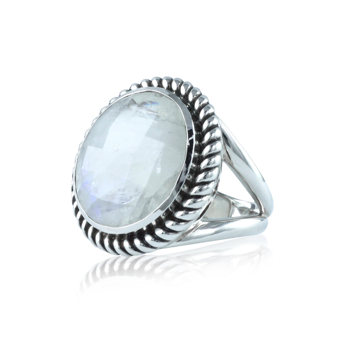 Faceted Rainbow Moonstone Bold Gemstone Ring