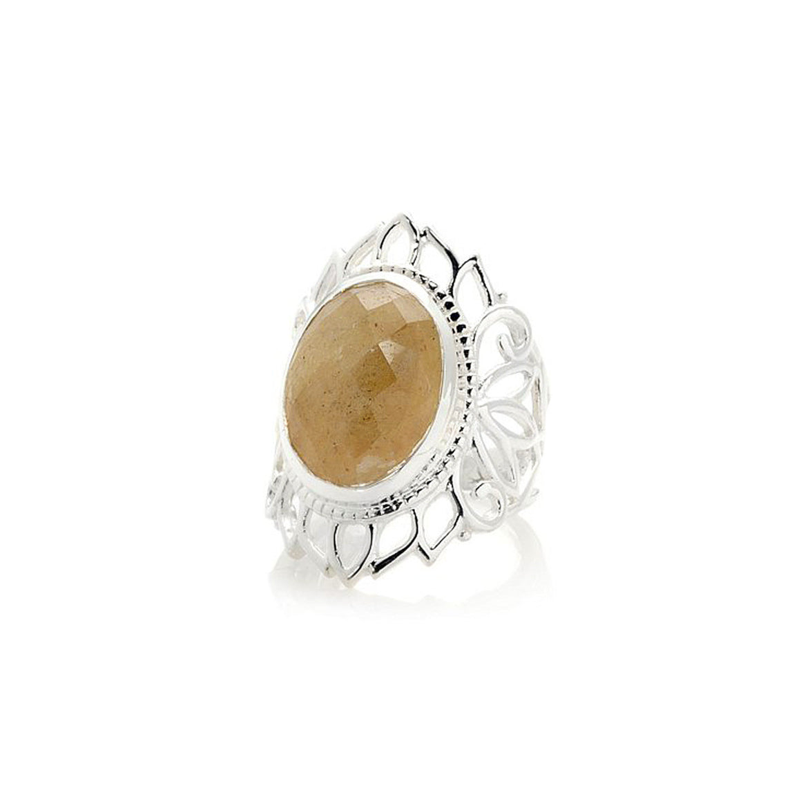 Yellow Sapphire Lotus Flower Ring