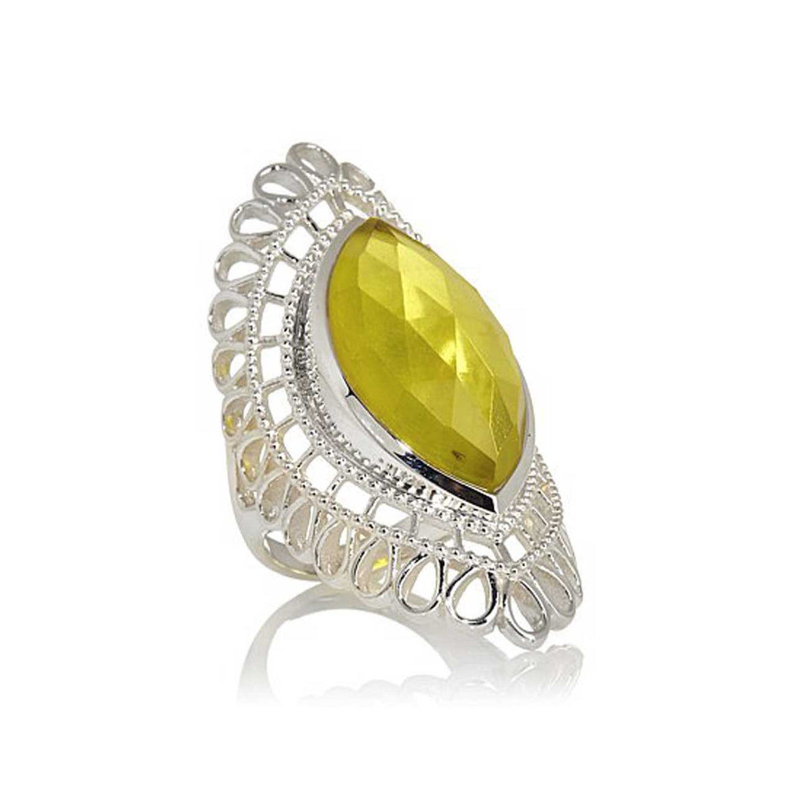 Lemon Quartz Marquise Ring