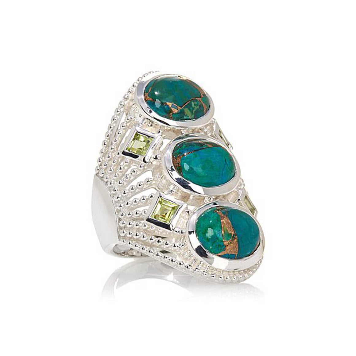 Chrysacolla and Peridot Multi Stone Ring