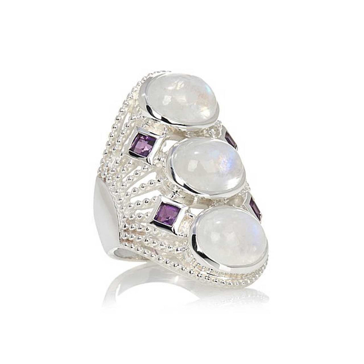Rainbow Moonstone and Amethyst Multi Stone Ring