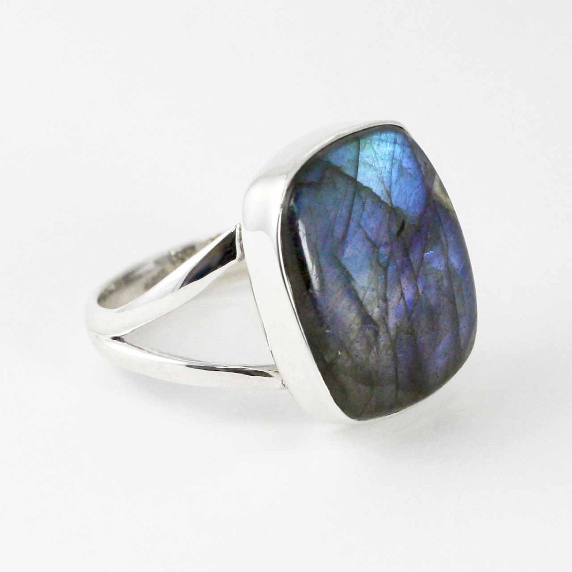 Labradorite Rectangular Cushion Cut Gemstone Ring