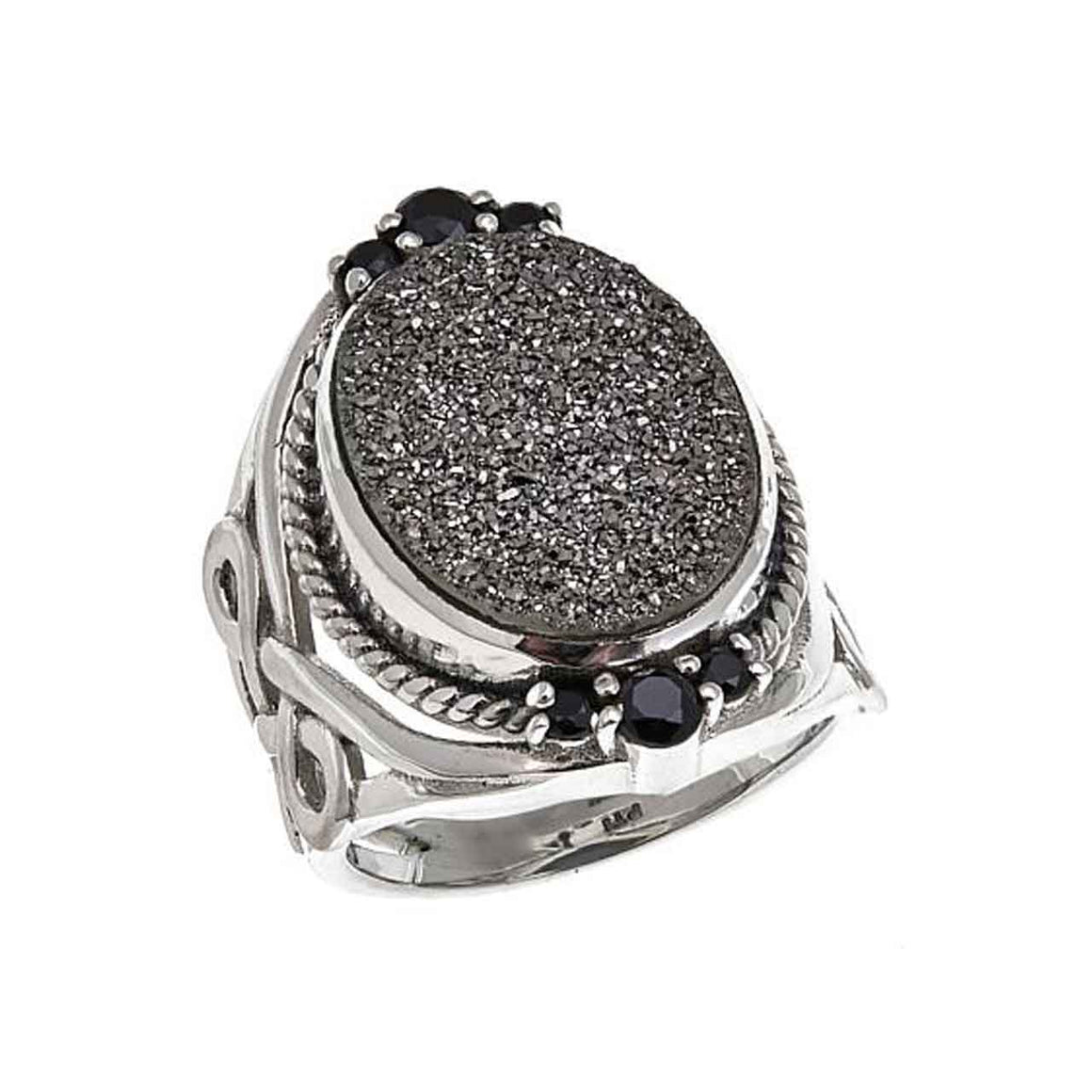 Black Drusy and Black Spinel Ring