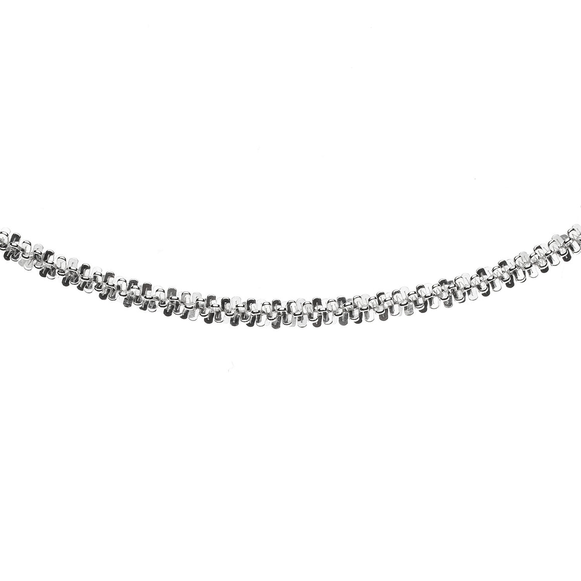 Sterling Silver Italian Criss Cross Sparkle Rope Chain - 1.75mm