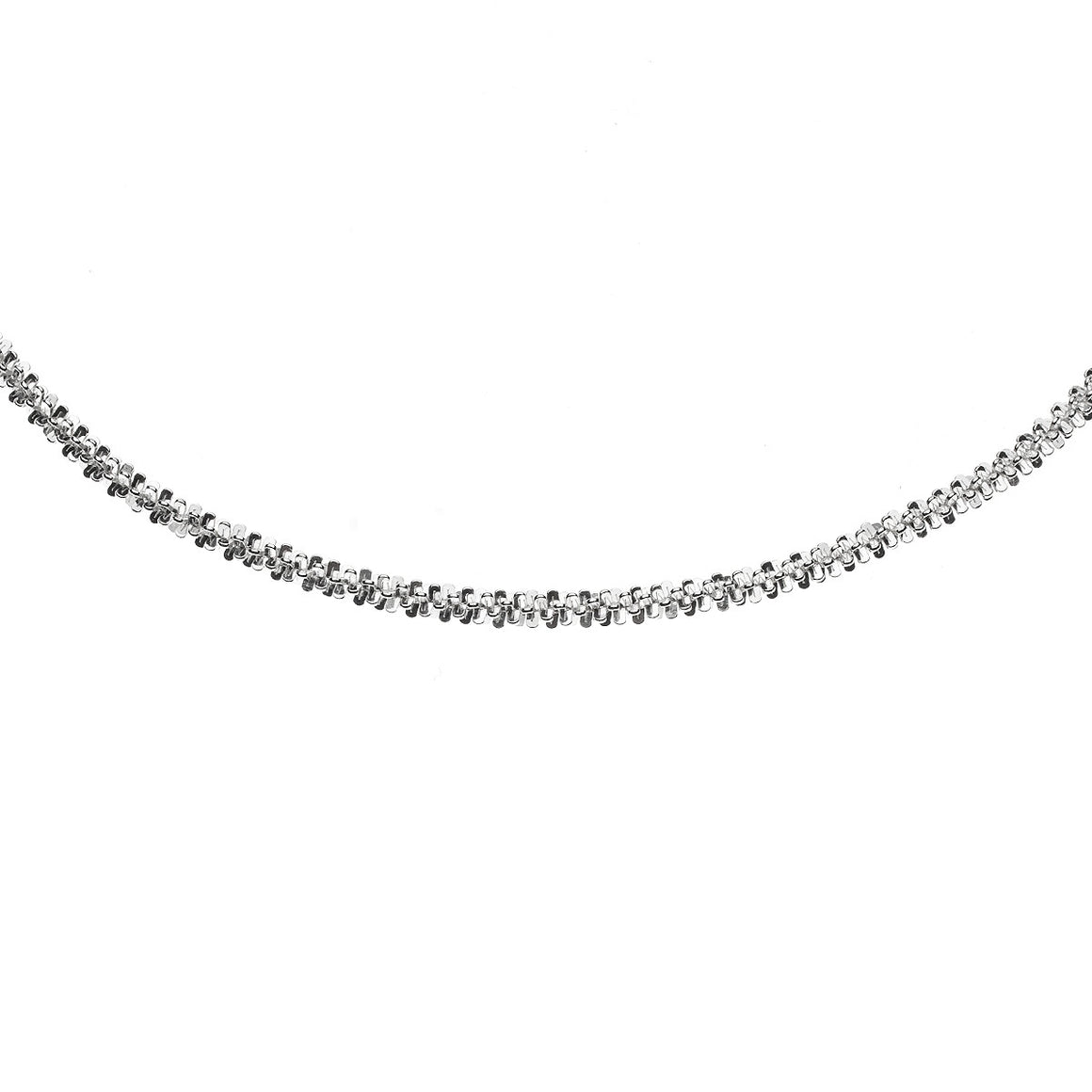 Sterling Silver Italian Criss Cross Sparkle Rope Chain - 2.25mm