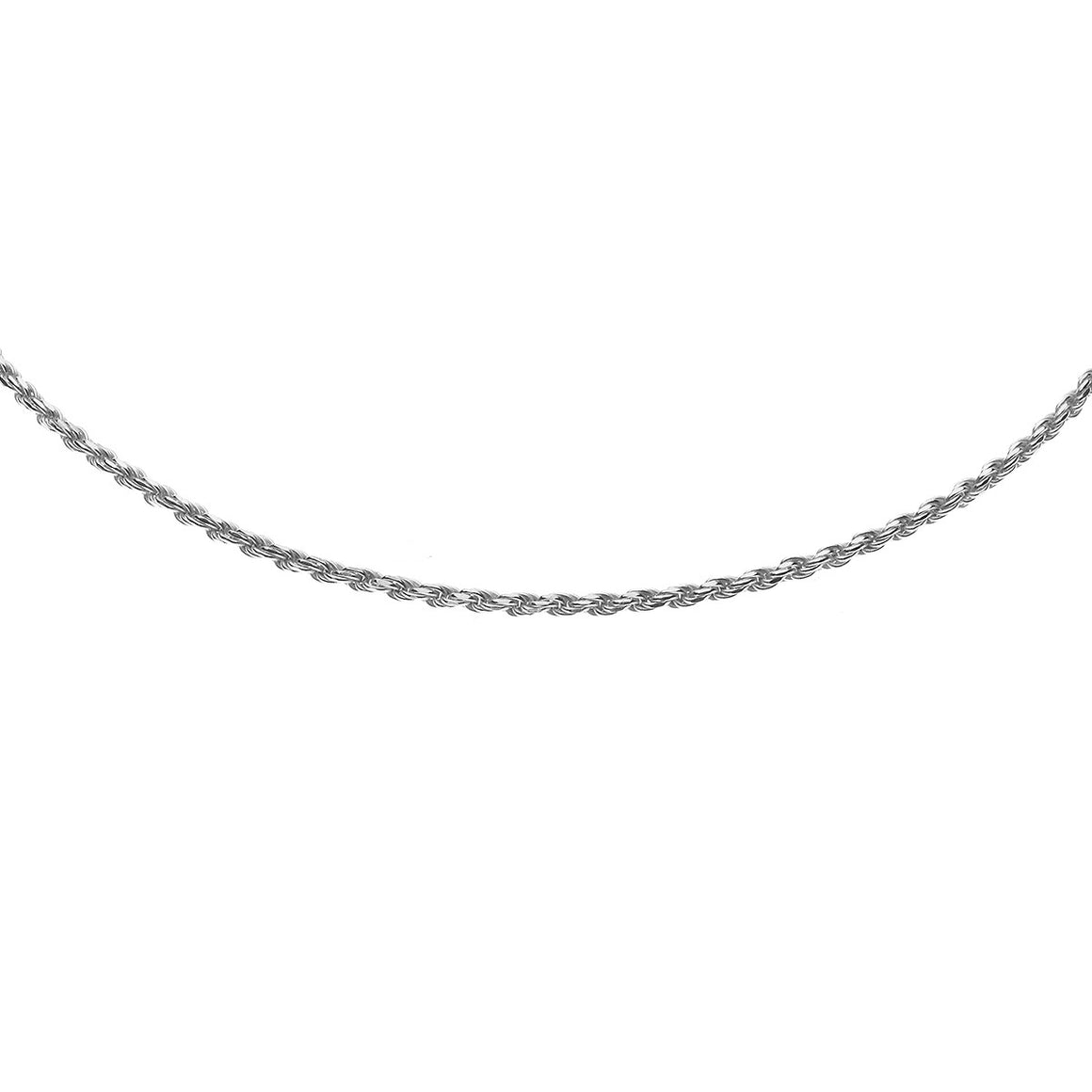 Sterling Silver Italian Diamond Cut Solid Rope Chain - 1.6mm