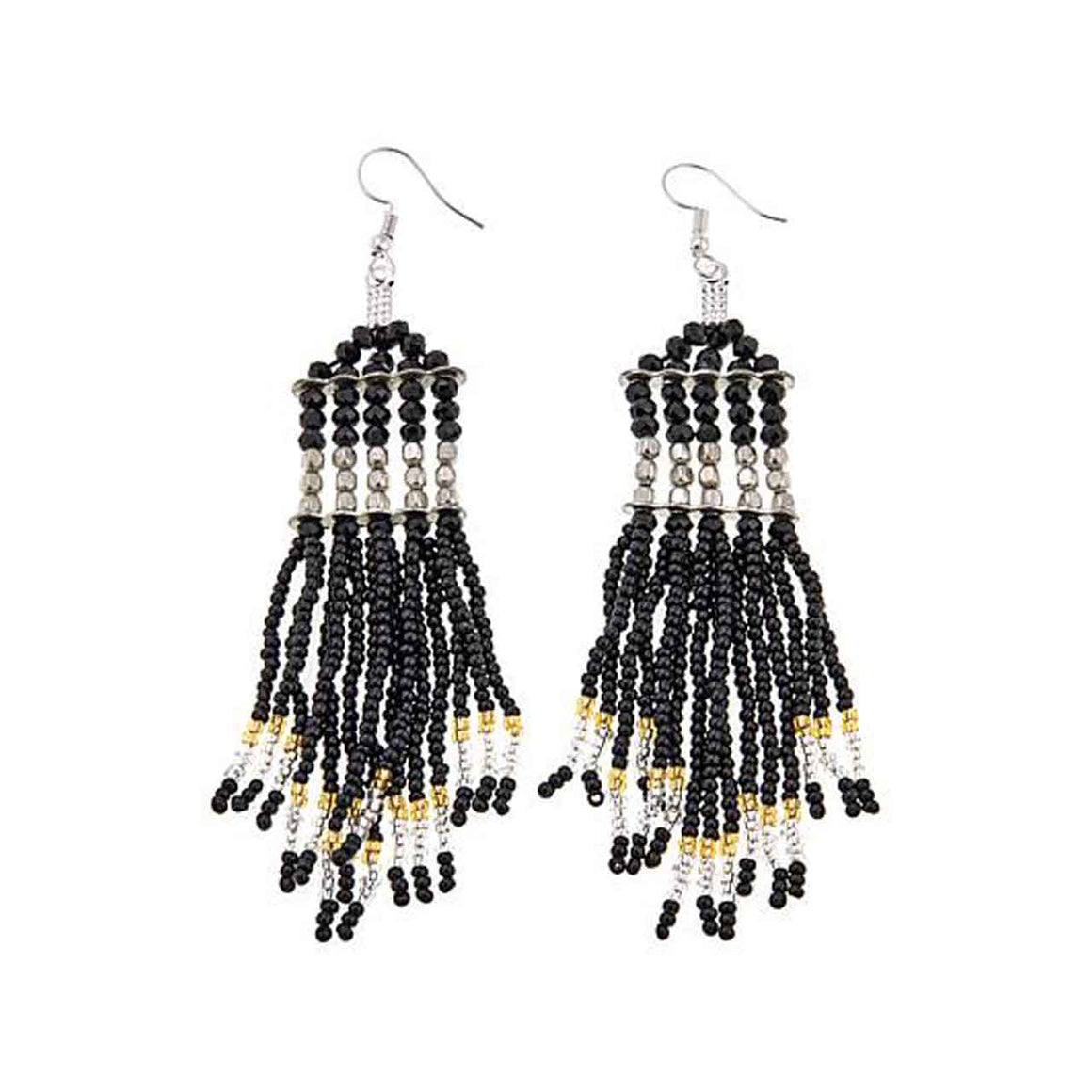 Black Glass Bead Tassell Drop Earring