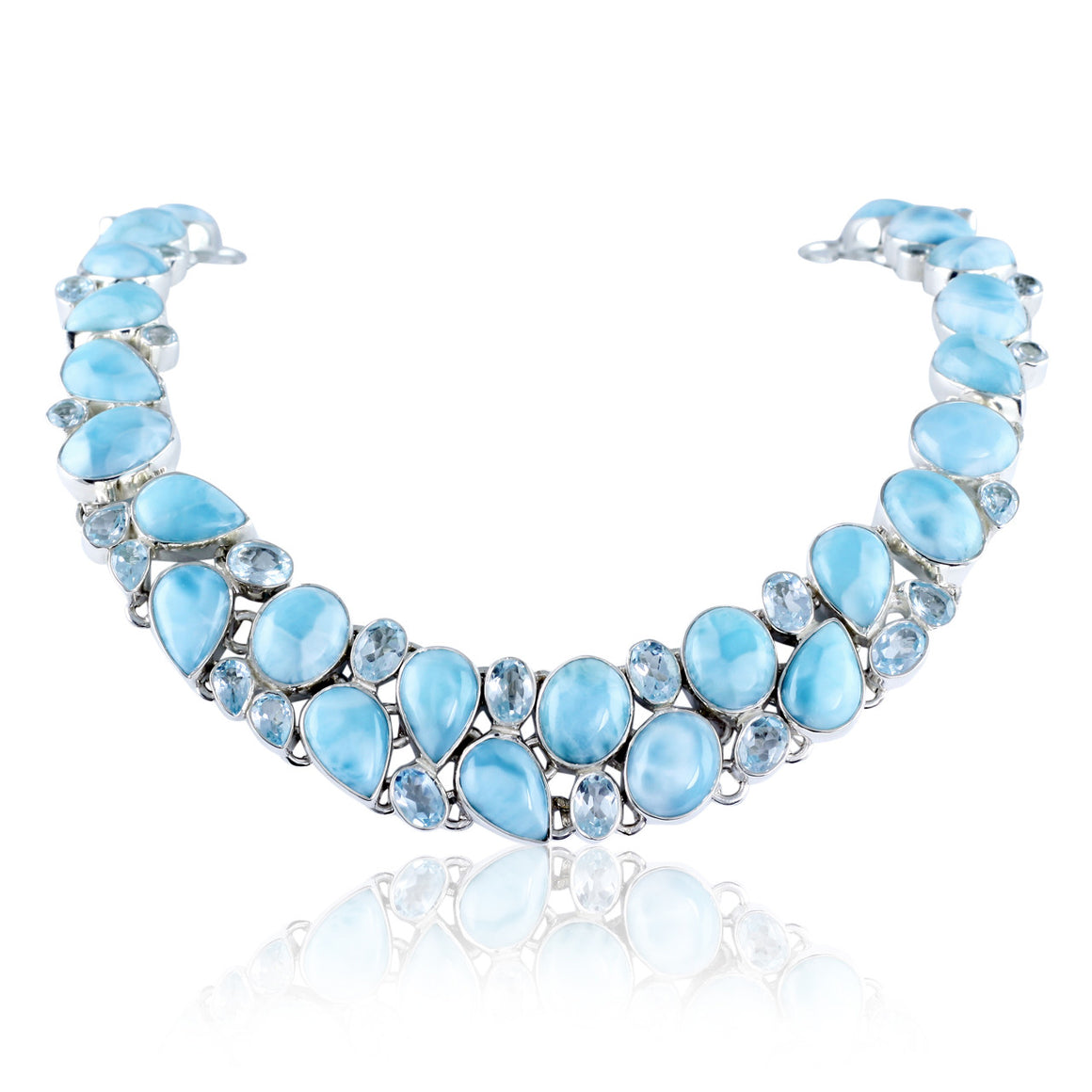 Larimar and Blue Topaz Multi Gemstone Necklace