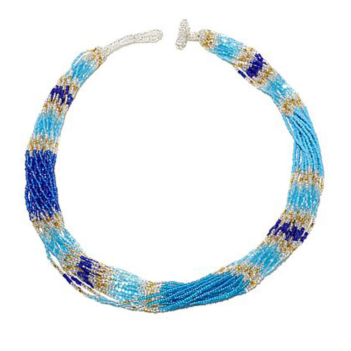 Blue 15 Strand Colour Blocked Potay Necklace