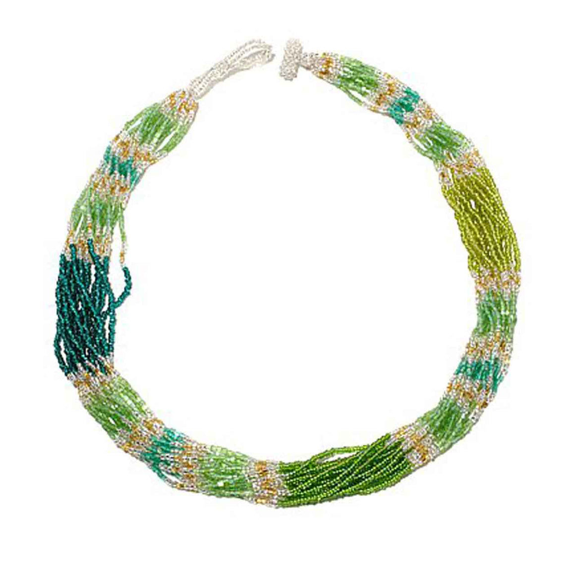 Green 15 Strand Colour Blocked Potay Necklace