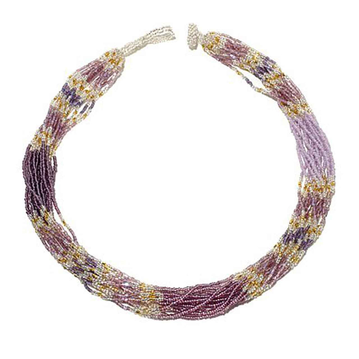 Purple 15 Strand Colour Blocked Potay Necklace