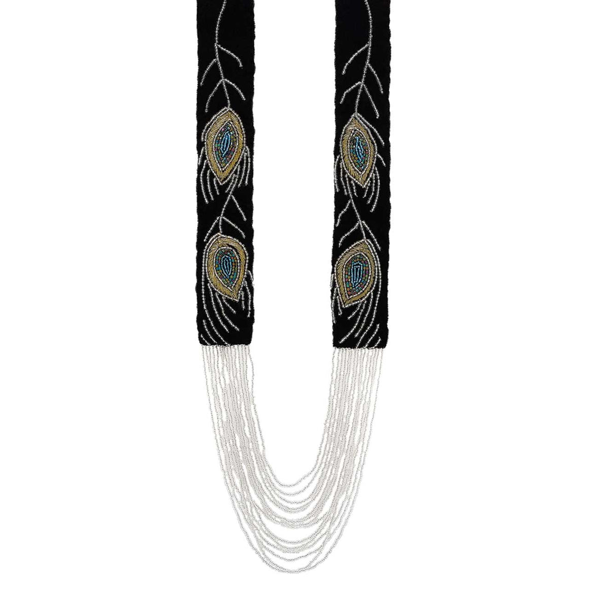 Black Double Peacock Waterfall Necklace