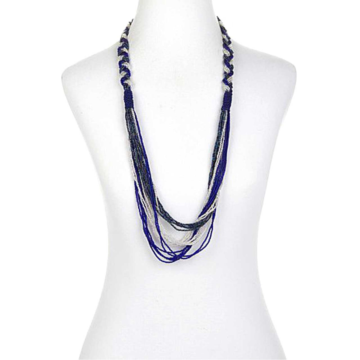 Blue Potay Braided Waterfall Necklace