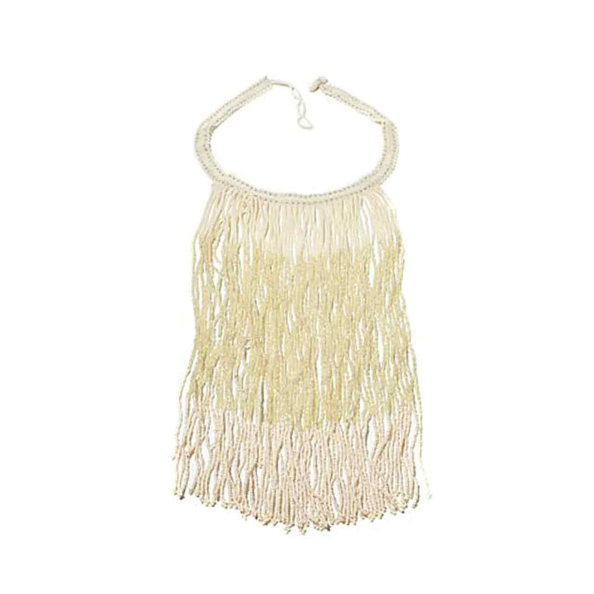 Cream Colour Potay Fringe Necklace