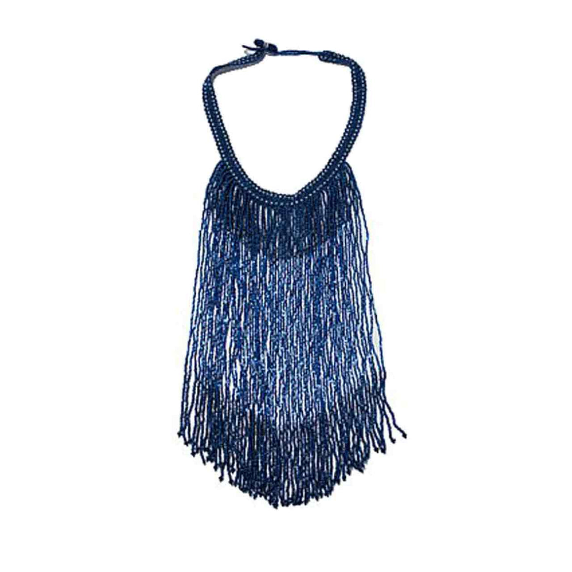Royal Blue Potay Fringe Necklace